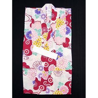 新品☆110サイズ 女の子 子供浴衣 古典柄のこども浴衣「生成り 赤系菊と雪輪」(甚平/浴衣)