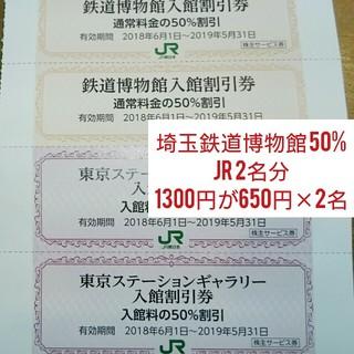 鉄道博物館 大宮 50%割引券 2枚セット、東京ステーションギャラリー半額(美術館/博物館)