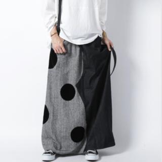アンティカ(antiqua)の【antiqua】デニムとツイードのスカート ドット 新品未使用(ロングスカート)