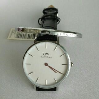 希少品!【ワニブラック28mm】ダニエルウェリントン腕時計+シルバー バングル
