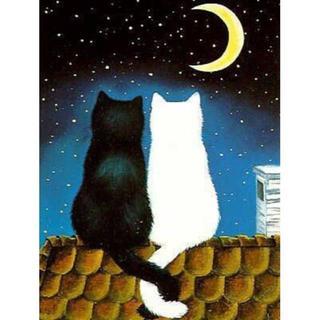 三日月の夜の可愛い猫カップル(A4額縁付きフルセット) ダイヤモンドアート(その他)