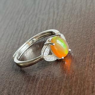 遊色が綺麗な天然オパール リング シルバー925刻印有       フリーサイズ(リング(指輪))