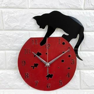 黒猫 壁時計 壁掛け時計 レッド(掛時計/柱時計)