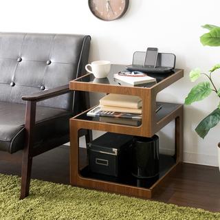開店記念セール◆ガラス天板×木製 サイドテーブル(コーヒーテーブル/サイドテーブル)