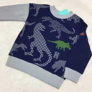 ハッカキッズ(hakka kids)のハッカキッズ 恐竜トレーナー 110 ネイビー×グレー(Tシャツ/カットソー)