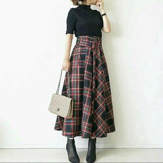ザラ(ZARA)のZARA ザラ ☆ ベルト付 チェック柄 スカート Mサイズ(ロングスカート)