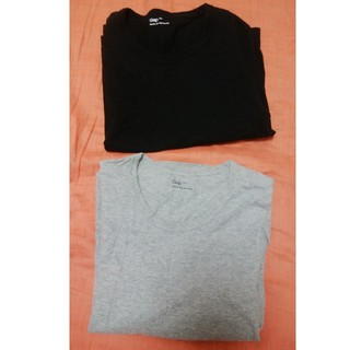 ギャップ(GAP)のGAP 七分袖 Tシャツ 黒 グレー 2枚セット(Tシャツ(長袖/七分))