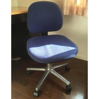 ジャンク品 キャスター付き椅子 ブルー(デスクチェア)