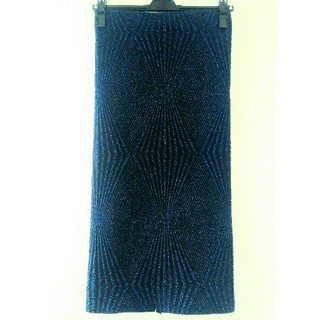 ザラ(ZARA)のZARA 新品 タイトスカート ロングスカート 青 ラメ キラキラ セクシー(ロングスカート)