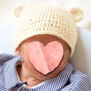 ハンドメイド☆新生児サイズ くま耳ニット帽☆オフホワイト(帽子)