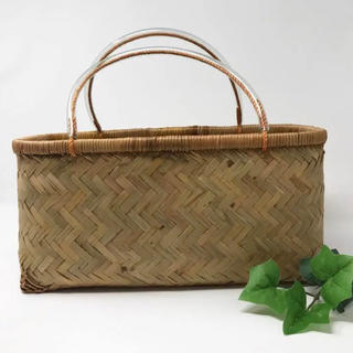 竹かご 浅型 市場かご 小ぶり 長方形 ピクニック 買い物 一閑張り材料かご