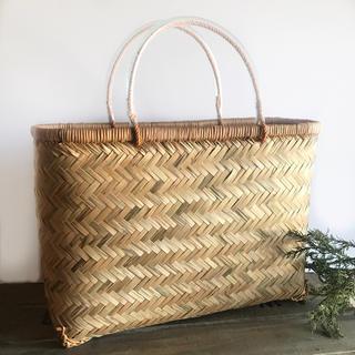 竹かご 平形 市場かご 買い物かご マルシェかご 一閑張り材料かご(バスケット/かご)