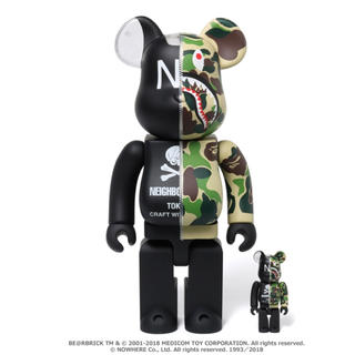 A BATHING APE - BAPE × NEIGHBORHOOD BE@RBRICK 100% 400%