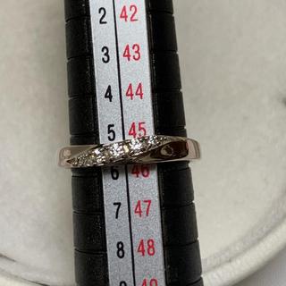 ヨンドシー(4℃)の美品 4°C  ピンクシルバー ×ラインストーン 6号 刻印有(リング(指輪))