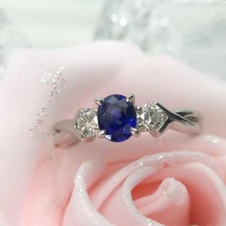 Pt900 ブルーサファイア ダイヤモンド リング 18-7671(リング(指輪))