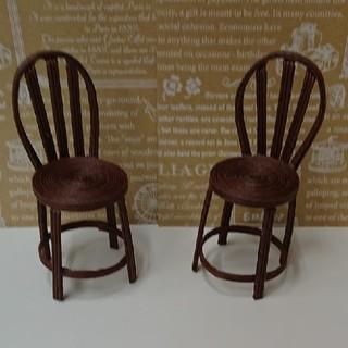 紙バンドの椅子二脚☆ ドールハウス ☆ハンドメイドです。(ミニチュア)