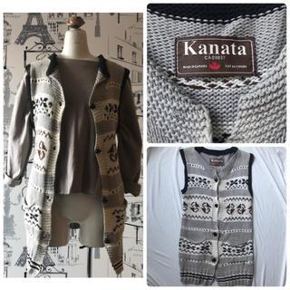 カナタ(KANATA)の【美品】KANATA ノルディックニットベスト レディース グレー(ベスト/ジレ)
