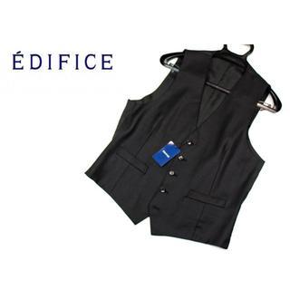 エディフィス(EDIFICE)の新品【エディフィス】ピンヘッドジレ ベスト ブラック 50サイズ(L)(スーツベスト)