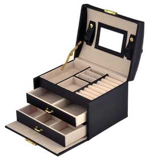 【大人気】ジュエリーボックス 大容量 鏡付き ブラック 宝石箱 新品