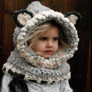 アライグマの帽子 赤ちゃん おしゃれママ 子供 帽子マフラー スキー スノボー(その他)