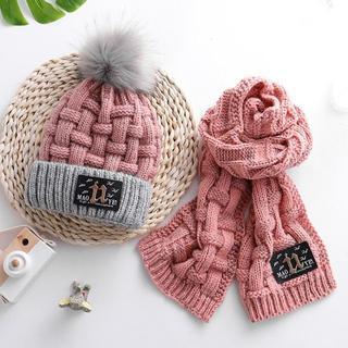 秋冬子供用帽子 マフラー付きポンポン付き 裏起毛 小顔効果 2点セット(その他)