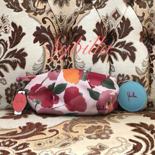 シビラ(Sybilla)のタグ付き未使用 シビラ 花柄メイクポーチ ミラー付き(ポーチ)