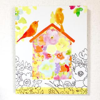 【再入荷】小鳥とお花のファブリックパネル③(ファブリック)
