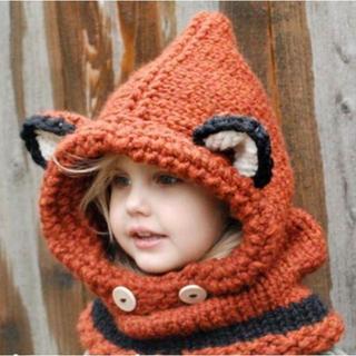 キツネの帽子 赤ちゃん おしゃれママ 子供 帽子マフラー スキー スノボー(その他)