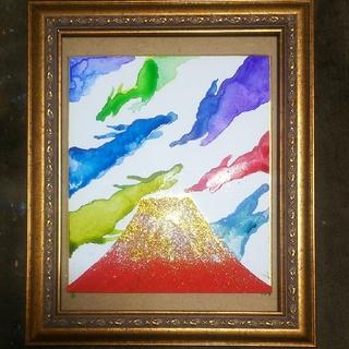 【龍神雲と赤富士】水彩、アクリル絵画