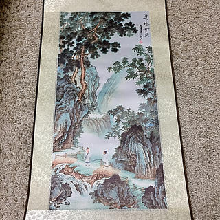 泉椅会友の掛け軸 中国 飾り 新品箱付き(絵画/タペストリー)