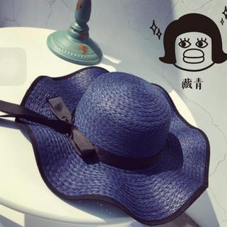 レディース 麦わら帽子 リボン付き ストローハット ネイビー(麦わら帽子/ストローハット)