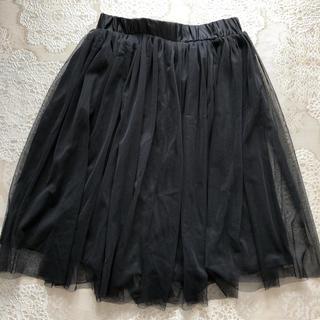 ジーユー(GU)のGU チュールスカート ブラック(ひざ丈スカート)