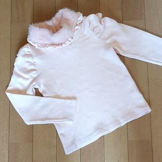 アンバー(Amber)の韓国子供服*Amber pure*ファー襟カットソー*ピンク*110cm(Tシャツ/カットソー)