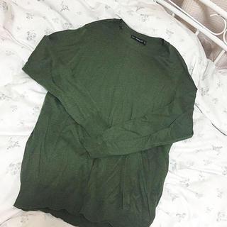 ザラ(ZARA)のZARA 深緑の薄手ニット ♡ 美品(ニット/セーター)