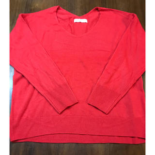 ディスコート(Discoat)のDiscoat Vネック セーター レッド Mサイズ(ニット/セーター)