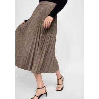 ザラ(ZARA)のZARA チェック柄プリーツスカート Sサイズ 新品未使用タグ付き(ロングスカート)