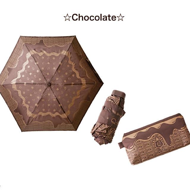 Q-pot.(キューポット)のQ-pot  メルティーチョコレート折りたたみ傘 晴雨兼用 未使用 レディースのファッション小物(傘)の商品写真