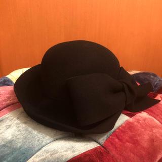 カシラ(CA4LA)のカシラ CA4LA リボン 黒 ブラック 帽子 美品 ハット クロッシュブリュレ(ハット)