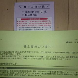 東京テアトル株主優待  招待券4枚+提示割引証(女性名義)    (その他)