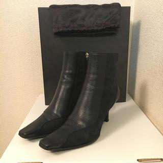 グッチ(Gucci)のGUCCI キャンバス×レザー ショートブーツ(ブーツ)