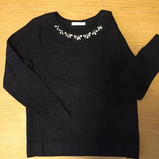 チャオパニックティピー(CIAOPANIC TYPY)のビジュー付きセーター 黒 (ニット/セーター)