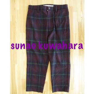 スナオクワハラ(sunaokuwahara)の美品 sunao kuwahara チェック テーパードパンツ 紫 S 毛100(カジュアルパンツ)