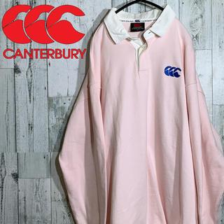 カンタベリー(CANTERBURY)のサイズ4L CANTERBURY  ラガーシャツ ピンク 胸ロゴ ロゴ刺繍(シャツ)