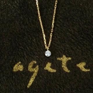 agete - アガット 0.05ct一粒ダイヤモンドのK18ネックレス