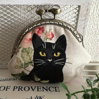 黒猫と薔薇 がま口財布(財布)