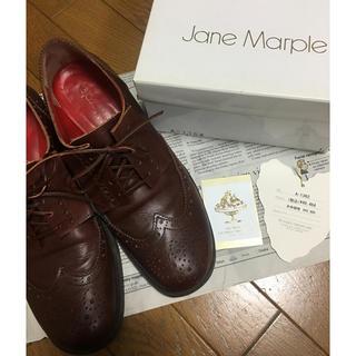 ジェーンマープル(JaneMarple)のJaneMarple リボンウイングチップシューズ DBR L(ローファー/革靴)