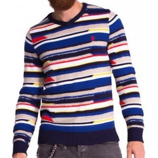 デシグアル(DESIGUAL)のデシグアル Desigual ニット セーター マルチボーダー 刺繍 Vネック(ニット/セーター)