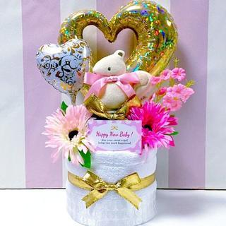 ●おむつケーキ 今治タオル2段マスコットガラガラ 女の子 出産祝いに大人気!(その他)