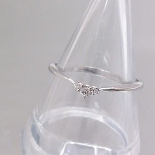 K18WG ダイヤ 0.05ct リング 指輪 約14号 新品仕上済(リング(指輪))