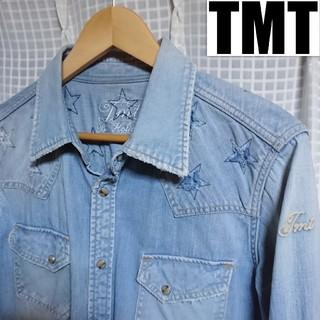 ティーエムティー(TMT)のTMT❇️ロゴ刺繍 星柄ダメージ加工 デニムシャツ(シャツ)